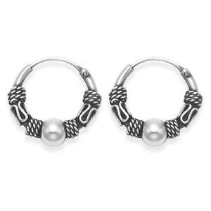 Pair Of Sterling Silver Bali   Ball  Hoop  Earrings  11  mm  !!   Brand  New  !!