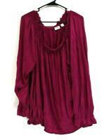 CATO Women 26/28W Elastic Neck Bishop Sleeve Ruffle Blouse Top Fuschia Purple