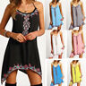 Women Sleeveless Party Summer Holiday Beach Long Tops A-Line Short Mini Dress