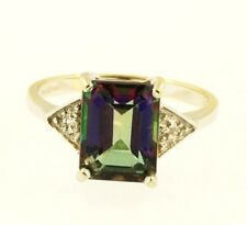 9Carat White Gold Mystic Topaz Solitaire w/ Diamond Accents Ring (Size L) 7x9mm