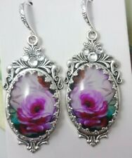 STUNNING PINK UNIQUE ARTISAN  VICTORIAN EDWARDIAN VINTAGE STYLE EARRINGS