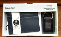 Calvin Klein Leather Credit Card Wallet RFID With Key Fob Set In Navy Blue Gift