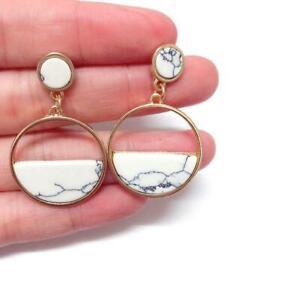 Marble Stone Round  Chandelier Earrings Gold Gypsy Boho Tribal Earring T3