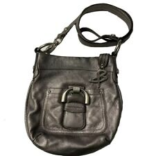 B. Makowsky Pebbled Leather Converitble Crossbody Westbourne Pewter Gray Silver