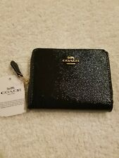 Coach 33093 Black Textured Patent Leather Small Zip Around Coin Wallet