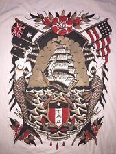 MERMAIDS TATOO 2XL T-Shirt Men's VINTAGE XXL WHITE S/S Let The Ocean SHIP FLAGS