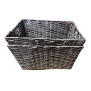 Seville Classics Decorative Woven Storage Baskets In Grey (Set of 2)
