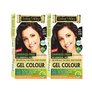 Indus Valley Organically Natural Gel Hair Color Dark Brown pack of 2 combo
