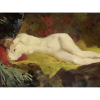 George Breitner Reclining Nude Painting Canvas Wall Art Print Poster