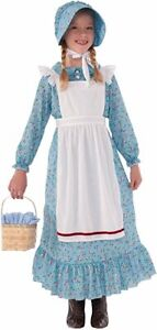 Pioneer Girl Costume Little House On The Prairie 3Pc Floral Dress Apron & Bonnet