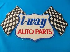 """BIG I-Way Auto Parts Embroidered Patch Cross Flags Nice Clean Vintage Unused 10"""""""