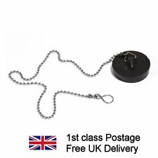 "NEW BATH PLUG AND BALL CHAIN RUBBER WASTE Drain Plug 45mm (1. 3/4"") chrome chain"