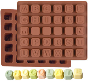 2 Pack ALPHABET BLOCKS Letters Silicone Mould Chocolate Fondant Wax Melt Mold