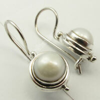 White AAA FRESH WATER PEARL 925 Solid Silver Earrings Size 2.4 CM 3.9 Grams