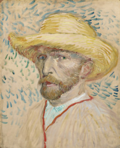 VINCENT VAN GOGH SELF PORTRAIT WITH STRAW HAT art print reproduction on canvas