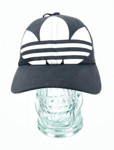 Adidas Originals Strapback Black Cap Big Trefoil Logo WOMENS Dad Hat NEW