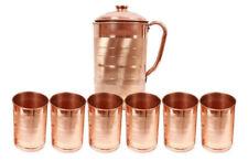 Set-7 Copper Handmade Natural Ayurveda Good Health Water Jug Pitcher+ 6 Tumbler