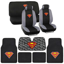 Superman Low Back Seat Covers Carpet Floor Mats Auto Shade - 14 Piece Set