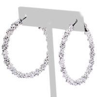 Große Ohrreifen Echt 925 Silber Ø 40 mm Ohrringe Creolen Damen Schmuck tp