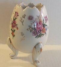 Vintage Japan Fine A Quality Broken Egg Planter Vase Hand Painted Flowers Roses
