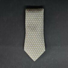 vintage HERMES green 100 silk Tie made in France geometric print necktie 7884 MA