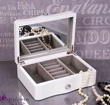 White Wooden Jewellery Box mirror New Gift jewelery storage box Xmas #8