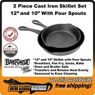 """Cast Iron 2 Piece Skillet Set 10"""" and 12"""" With Pour Spouts Bayou Classic 7451"""