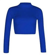 Girls Turtle Neck Crop Ladies Long Sleeve Plain Polo Short Stretch Top 6 8 10 12