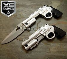 JTEC Spring Assisted REVOLVER PISTOL Gun SILVER Folding Pocket Knife