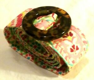 VERA BRADLEY Capri Melon Print Fabric Belt Tortoise Shell Style Buckle Pink