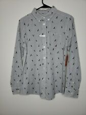 New Wonder Nation Boys Shirt Extra Large 14 Button Down Gray Striped Sailboats