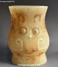 Old China Natural White Jade Gilt Owl Nighthawk Beast Animal Vase Bottle Jar Jug