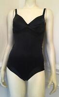 Vintage Sz S Unbranded Black Nylon Spandex Body Suit Pretty Detail Cotton Crotch
