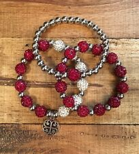 Rustic Sooners-OU Bracelet Cuff Set-3 Bracelets-FREE SHIP