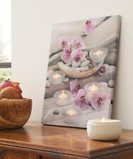 LED Bild Orchidee Wandbild Wanddeko Leinwand Keilrahmen Bilder Teelichter