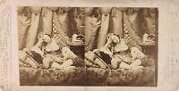 Scena Artistica Donna Orientalismo Foto Stereo Albumina Ca 1875