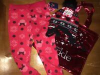 Disney Girls Sz 6 Minnie Mouse Sweatpants Pants Nwt Bag Hat Christmas Set