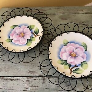 Pair Vintage Hand Painted Floral Plate Black Wire Iron Round Wall Hanger Holder