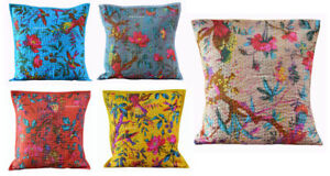 "INDIAN HANDMADE HAND QUILTED 16"" COTTON CUSHION COVER SOFA HOME DECOR ART"