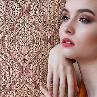 Wallpaper red burgundy rustic textured Victorian ogree diamond vintage damask 3D