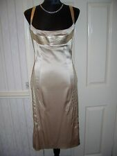 Jitrois Designer Gold  Leather & Satin Pencil Dress size 40 (fits UK 10/12)