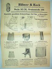 Reklame Blatt Aushang Hükona Fahrrad Schmutzfang Hübner & Koch Berlin um 1930 !