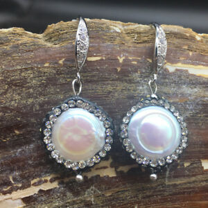White Luster Coin Pearl 17mm Black Crystal Pave Bling Dangle Earrings Women