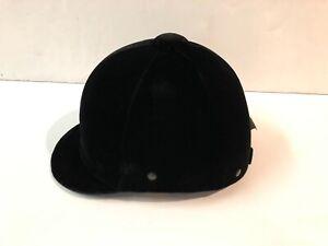 Genuine Equi-Royal 7 1/4 Vintage Velvet Black Unisex Riding Hat Helmet