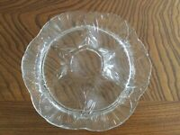 """Clear Glass 9"""" Oyster Plate Dish Sea Shell Wells w Center Sauce LE Smith?"""