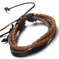 Hand-made Multi-strand Brown Braided Leather Bracelet for Men Women Leather Band