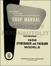 1958 Packard and Studebaker Shop Manual 58 Repair Service Book Supplement