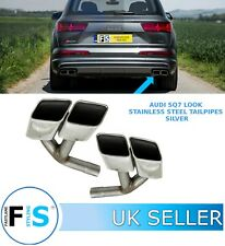 AUDI Q7 SQ7-LOOK T304 STAINLESS STEEL RECTANGULAR EXHAUST TAIL PIPES TIPS OEM