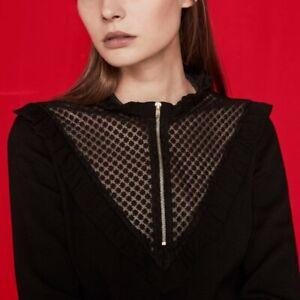 Maje Loiret Black Crepe Sheer Lace Yoke Zipper Top Sz 1 S