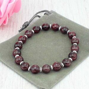 Handmade Natural Garnet Healing Crystal Gemstone Stretch Chakra Bracelet